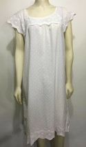 Susan Bristol Womens XL White Cotton Dotted Swiss Eyelet Nightgown Light... - $45.57