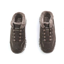 Skechers Sport D'Lites Brown Suede Mules Slip On Sneakers Faux Fur Women... - $34.48