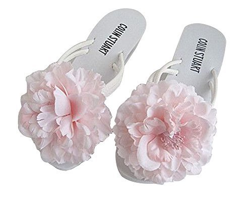 Fashion Summer Item, Light Pink Silk Flower Flip Flop Beach Casual Sandals