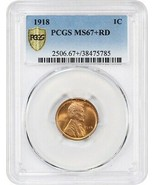 1918 1c PCGS MS67+ RD - Only One Finer! - Lincoln Cent - Only One Finer! - $5,606.60