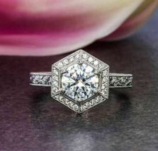 2.65Ct Round Cut White Diamond 925 Sterling Silver Hexagon Halo Engageme... - $116.00