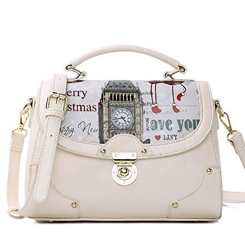 Fashion Print Big Ben Beige Leather Handbag