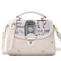 Fashion Print Big Ben Beige Leather Handbag