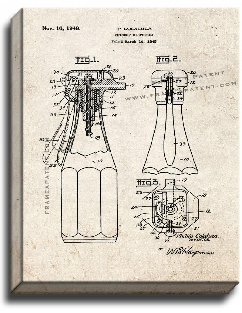 Primary image for Ketchup Dispenser Patent Print Old Look on Canvas