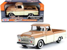 1958 Chevrolet Apache Fleetside Pickup Truck Brown and Beige 1/24 Diecas... - $32.86