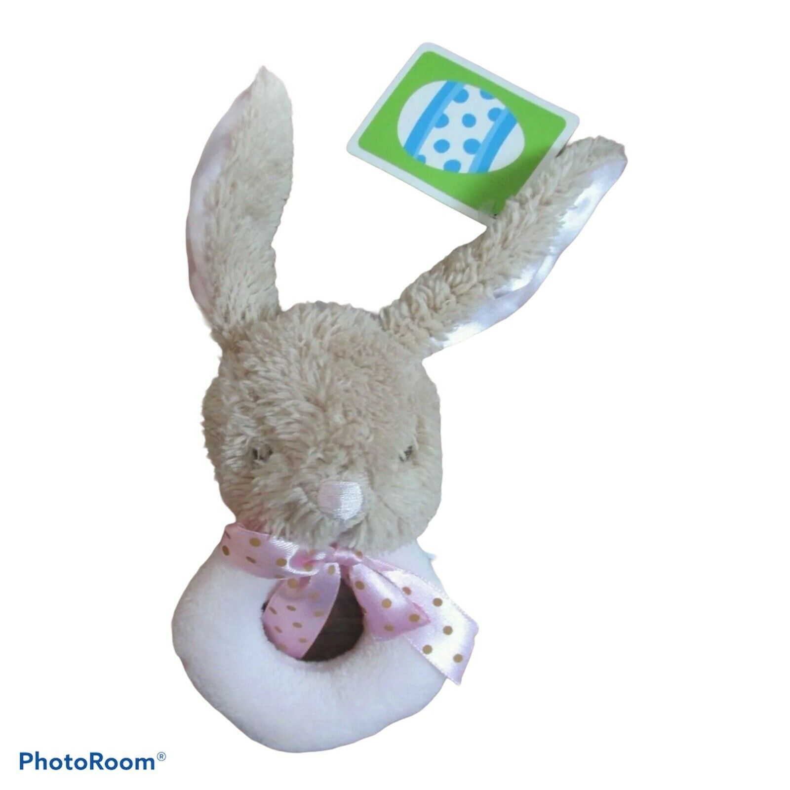 Dandee My First Easter Bunny Wrist Ring Rattle Satin Ears Pink NEW HTF Cute Dots - $24.74