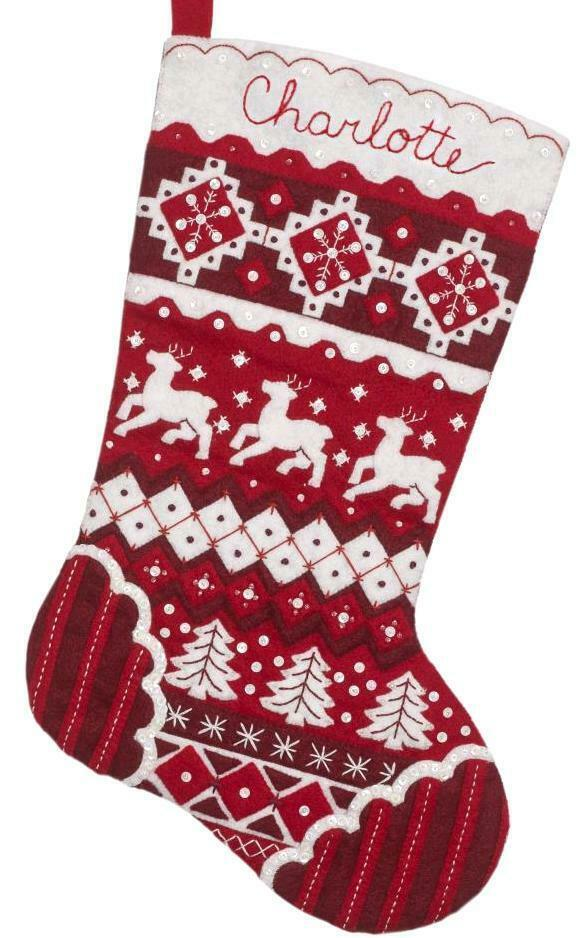 Primary image for Bucilla Nordic Christmas Red White Deer Tree Holiday Felt Stocking Kit 89066E