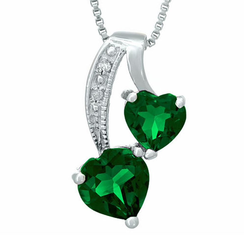 "Primary image for Emerald and Sim.Diamond 14K White Gold Fn Double-Heart Pendant 18"" Necklace"