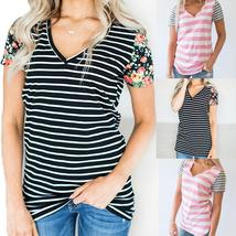 Women's Casual Stitching Striped Short Sleeved V-Neck T-Shirt Top Blouse - $27.20+