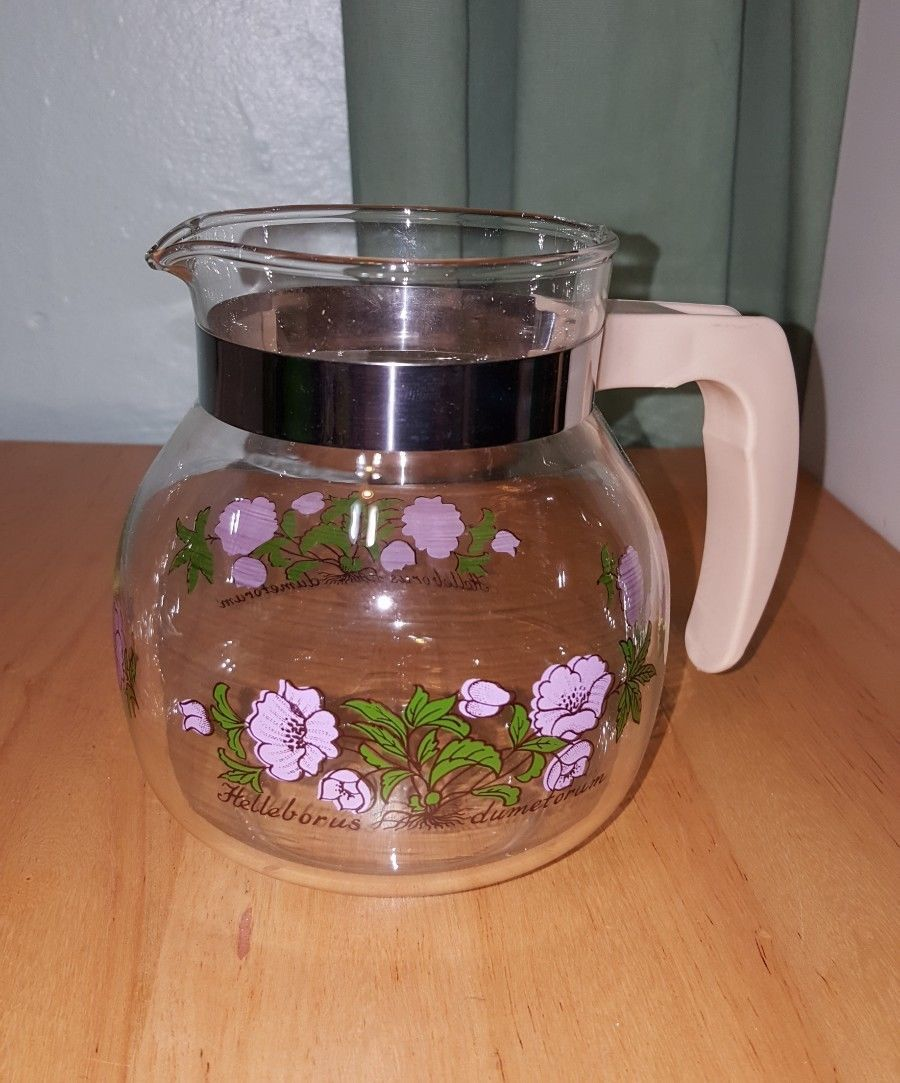 Vintage MAASTRICHT RANDWYCK HOLLAND GLASS COFFEE pitcher jar with purple flowers