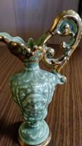 Unique Vintage  Mint Green Vase w  /22 KT Gold Trim Pitcher/Vase w/ Figurine Wom image 2