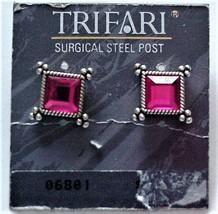 Trifari Pink Stones Pierced Earrings Huggie Sur Steel Posts NOC - $19.95