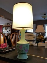 VINTAGE MID CENTURY LEVITON green grape pattern pottery TABLE LAMP with... - $29.70