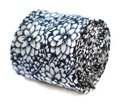 Frederick Thomas Designer Linen Mens Tie - Dark Navy Blue - Floral / Flower - $16.27