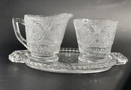 VINTAGE 1950s EAPG DUNCAN & MILLER SANDWICH PATTERN CREAMER SUGAR & UNDE... - $14.80