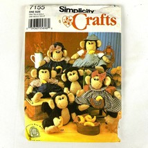 Simplicity 7155 Stuffed Monkey and Clothes Sewing Crafts Pattern Soft Do... - $12.49
