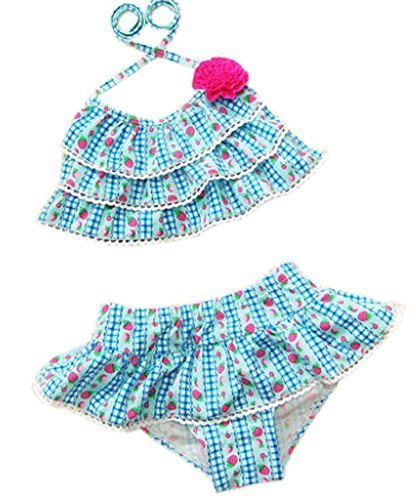 Two Piece Swimsuits Strawberry Wave Pattern Blue&Red, 95-105 cm2-3.5 Years