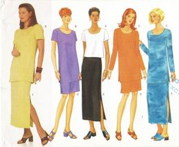 Misses Loose Fit Pullover Top Tunic Semi Fit Straight Skirt Sew Pattern 18-22 - $12.99