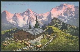Switzerland Eiger Monch und Jungfrau Alpen Hutte Cow Herders Hut Alps Po... - $6.69