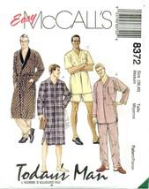 McCalls EASY 8372 Todays Man Mens Nightshirt Robe Belt Pajamas Pattern U... - $12.95