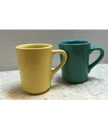 Set of Two HLC DENVER Restaurant  Mugs Yellow, Green, Made In USA Discon... - $12.00