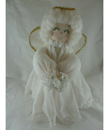 "Chrismas Tree Top Angel 13"" White Hair Embroidered Face White Dress Hand... - $19.79"