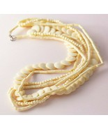 Vintage Multi Strand Boho Bohemian Ethnic Bone Beaded Necklace - $24.75