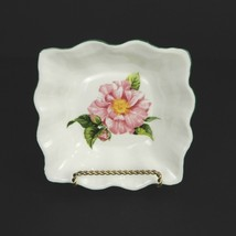Mottisfont Rose Bone China Square Dish Cream Pink Rose Lee Kay Design - $23.75