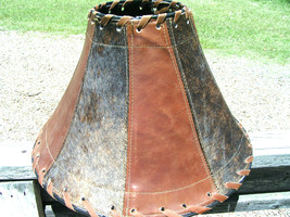 Western Cowhide Leather Lamp Shade Rustic Southwest 1300 bz - $169.98
