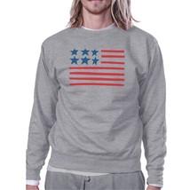 USA Flag Cute American Flag Design Sweatshirt Unisex Grey Fleece - $20.99+