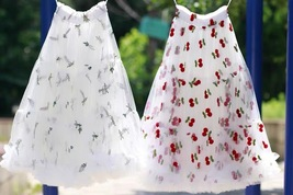 White Cherry Pattern A-line Long Tulle Skirt High Waisted Fairy Tutu Party Skirt image 3