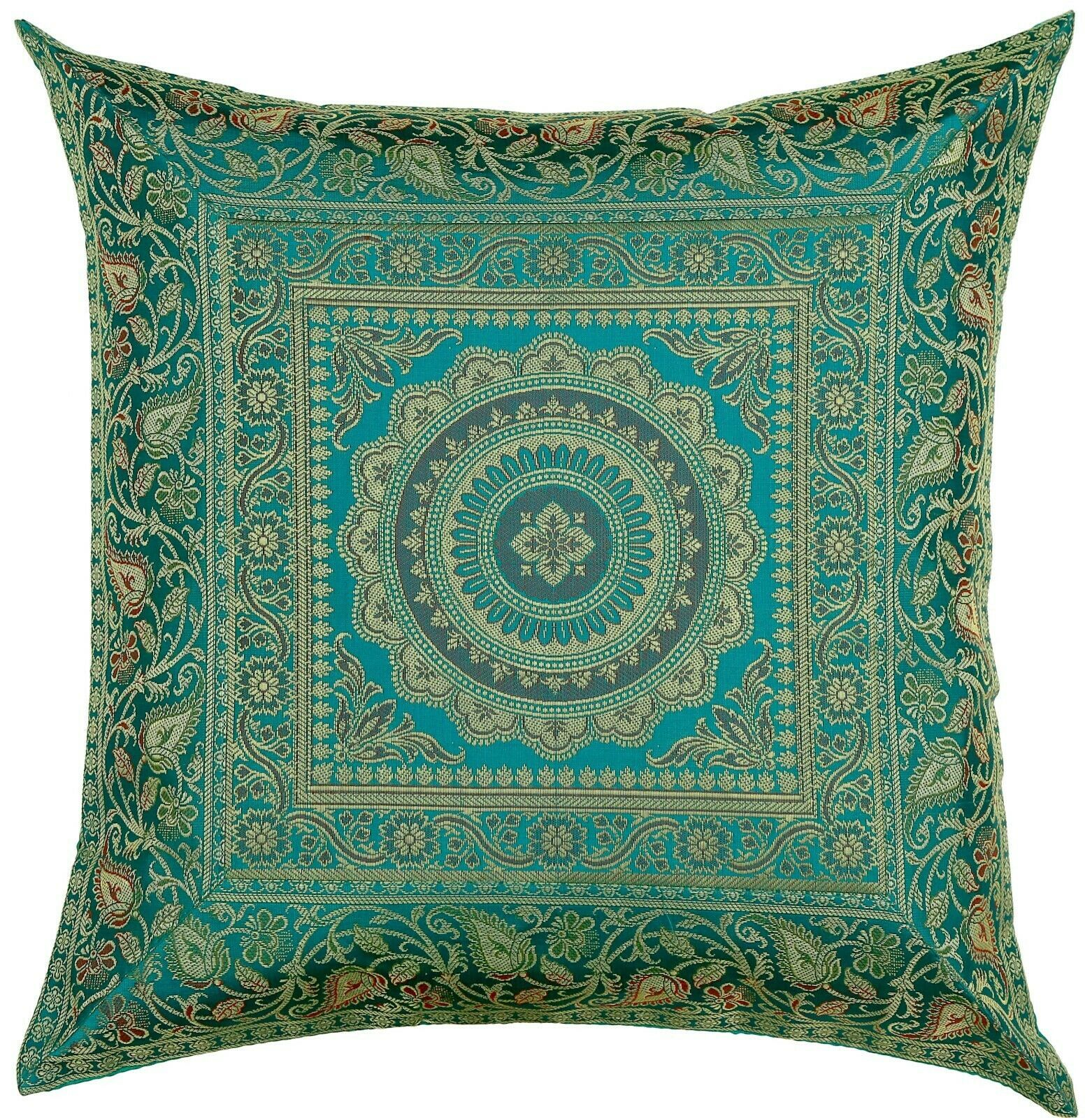 "Primary image for 16"" x 16"" Teal Mandala Silk Brocade Cushion Cover Pillow Throw Sofa Home Decor"