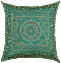 "16"" x 16"" Teal Mandala Silk Brocade Cushion Cover Pillow Throw Sofa Home Decor image 1"