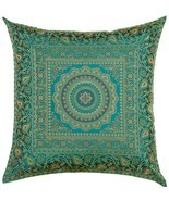 "16"" x 16"" Teal Mandala Silk Brocade Cushion Cover Pillow Throw Sofa Home... - £6.91 GBP"