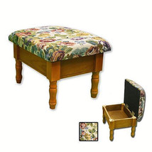 Tiny Warm Oak finish Ottoman with storage tapestry upholstered - $38.59