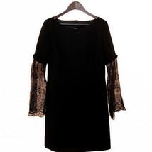 Slate & Willow Women's Size 8 Ana A-Line Long Lace Sleeve Dress Black - $33.29