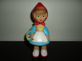 """Little Red Riding Hood Doll Vintage Rubber Squeaker Toy 7.5"""" Art 150 Works 100% - $135.00"""