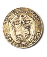 1934 Panama 1/2 Half Balboa KM# 12.1 Silver Coin Rare Only 90,000 Minted - $53.80 CAD