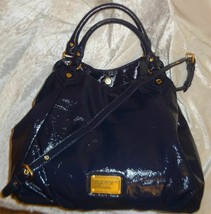 MARC JACOBS CLASSIC Q FRANCESCA NAVY BLUE LEATHER LARGE TOTE BAG PURSENWT - $299.99