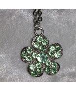 Vintage pastel green flower necklace rhinestone  silver tone  - $15.00