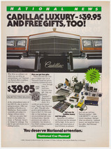 Vintage 1983 National Car Rental Print Ad Featuring Cadillac and Free Gifts - $7.49
