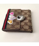 Authentic, Gucci Brown Canvas -Leather Compact Bi-fold Wallet 5in x 4.5in - $118.70