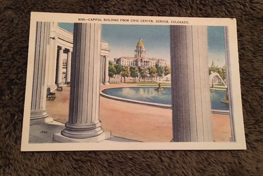 Vintage Postcard Unposted N110 Capitol Building From Civic Center Denver Co