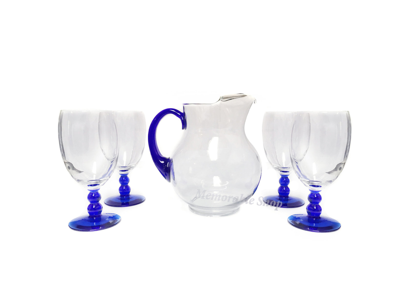 Libbey blue pitcher and goblet iced tea glasses set  2
