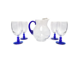 Libbey Blue Pitcher and Goblet Iced Tea Glasses Set Serving Cold Drink Set  - $80.00