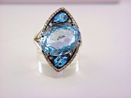 14k White Gold Sophia Blue Topaz and Diamond Statement Cocktail Ring Sz ... - $488.04