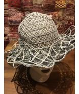 Vintage Fine Woven Straw Black Wide Brim Sun Hat - $51.48