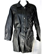Wilsons Womens Leather Mid Thigh Length Vintage Style Coat Jacket Size S... - $24.74