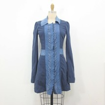 2 - Free People Blue Ruffled Eyelet Trim Snap Front Cotton Jacket 1016KM - $45.00