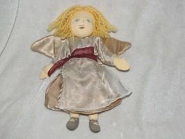 Adrian the Angel Stuffed Plush Cloth Doll Blonde Yarn Hair Gold Satin Ab... - $49.49